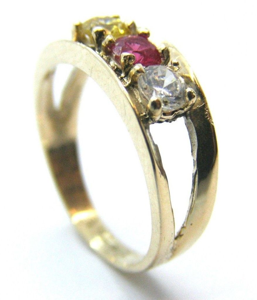 10k yellow gold three stone mother 39 s ring twins jewelry. Black Bedroom Furniture Sets. Home Design Ideas