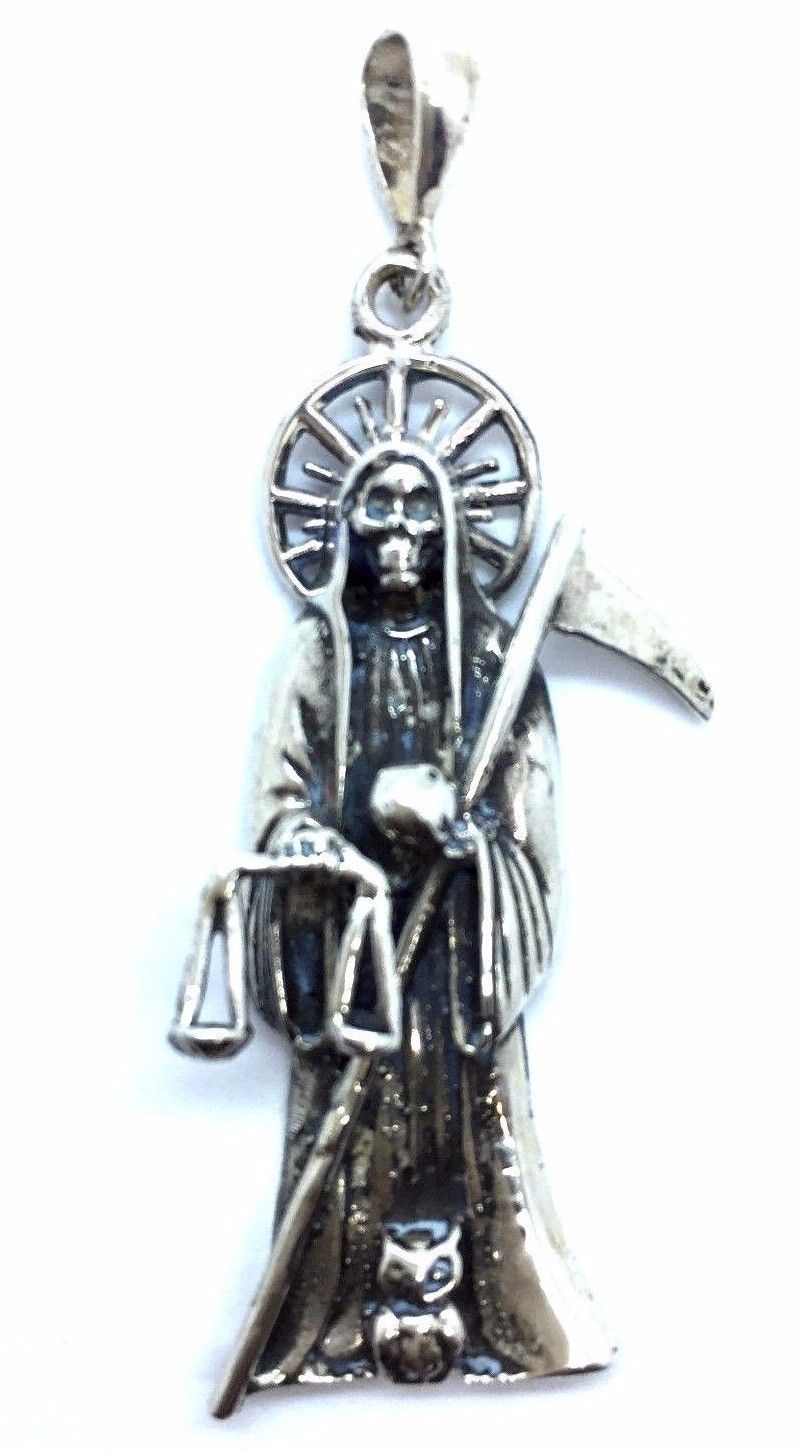 925 sterling silver santa muerte holy death pendant twins 925 sterling silver santa muerte holy death pendant mozeypictures Images