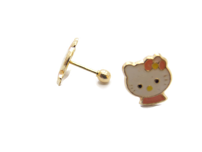1265d798a 14K YELLOW GOLD HELLO KITTY EARRINGS - Twins Jewelry Store