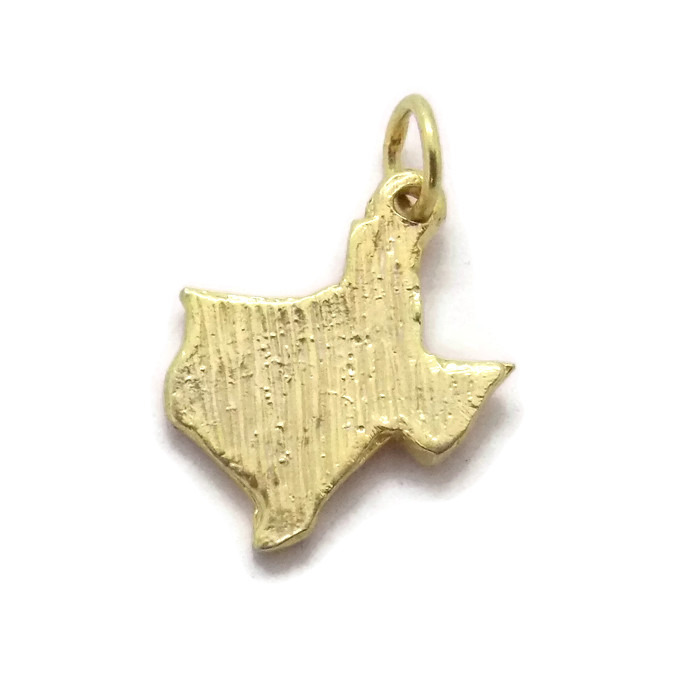 State Map Of Texas Pendant Charm  14k Yellow Gold!!