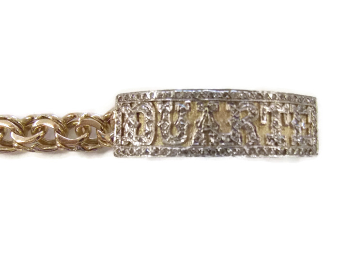 Chino Link 10k Solid Yellow Gold Bracelet For Boy S With 2 0 Tcw White Diamonds